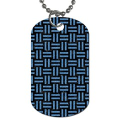 Woven1 Black Marble & Blue Colored Pencil Dog Tag (two Sides) by trendistuff