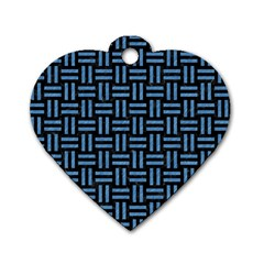 Woven1 Black Marble & Blue Colored Pencil Dog Tag Heart (one Side) by trendistuff