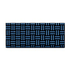 Woven1 Black Marble & Blue Colored Pencil Hand Towel by trendistuff