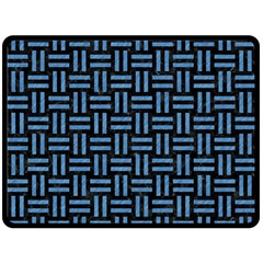 Woven1 Black Marble & Blue Colored Pencil Double Sided Fleece Blanket (large) by trendistuff