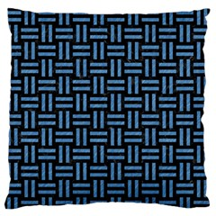 Woven1 Black Marble & Blue Colored Pencil Standard Flano Cushion Case (two Sides) by trendistuff