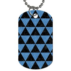 Triangle3 Black Marble & Blue Colored Pencil Dog Tag (one Side) by trendistuff