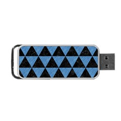 Triangle3 Black Marble & Blue Colored Pencil Portable Usb Flash (two Sides) by trendistuff