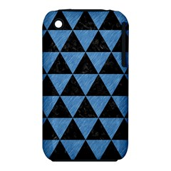 Triangle3 Black Marble & Blue Colored Pencil Apple Iphone 3g/3gs Hardshell Case (pc+silicone) by trendistuff