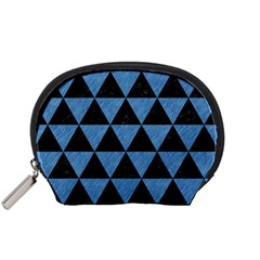 Triangle3 Black Marble & Blue Colored Pencil Accessory Pouch (small) by trendistuff