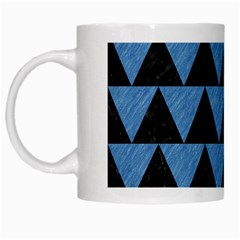 Triangle2 Black Marble & Blue Colored Pencil White Mug by trendistuff