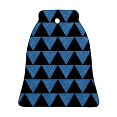 Triangle2 Black Marble & Blue Colored Pencil Bell Ornament (two Sides) by trendistuff
