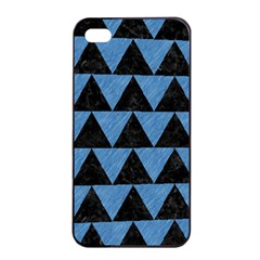 Triangle2 Black Marble & Blue Colored Pencil Apple Iphone 4/4s Seamless Case (black) by trendistuff