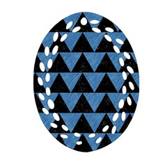 Triangle2 Black Marble & Blue Colored Pencil Oval Filigree Ornament (two Sides) by trendistuff