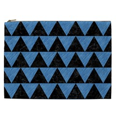 Triangle2 Black Marble & Blue Colored Pencil Cosmetic Bag (xxl) by trendistuff