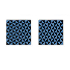 Triangle1 Black Marble & Blue Colored Pencil Cufflinks (square) by trendistuff