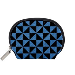 Triangle1 Black Marble & Blue Colored Pencil Accessory Pouch (small) by trendistuff