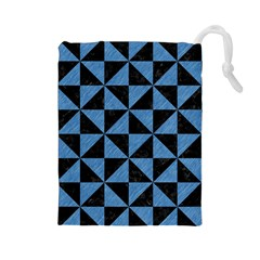 Triangle1 Black Marble & Blue Colored Pencil Drawstring Pouch (large) by trendistuff