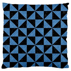 Triangle1 Black Marble & Blue Colored Pencil Standard Flano Cushion Case (one Side) by trendistuff