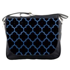 Tile1 Black Marble & Blue Colored Pencil Messenger Bag by trendistuff