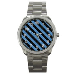 Stripes3 Black Marble & Blue Colored Pencil (r) Sport Metal Watch by trendistuff