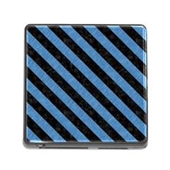 Stripes3 Black Marble & Blue Colored Pencil (r) Memory Card Reader (square) by trendistuff