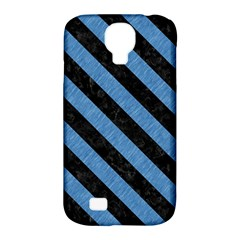 Stripes3 Black Marble & Blue Colored Pencil (r) Samsung Galaxy S4 Classic Hardshell Case (pc+silicone) by trendistuff