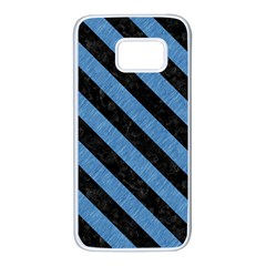 Stripes3 Black Marble & Blue Colored Pencil (r) Samsung Galaxy S7 White Seamless Case by trendistuff