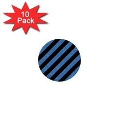 Stripes3 Black Marble & Blue Colored Pencil 1  Mini Button (10 Pack)  by trendistuff