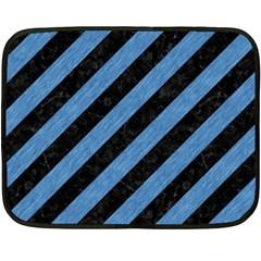 Stripes3 Black Marble & Blue Colored Pencil Fleece Blanket (mini) by trendistuff