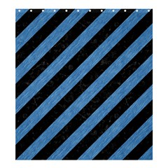 Stripes3 Black Marble & Blue Colored Pencil Shower Curtain 66  X 72  (large) by trendistuff