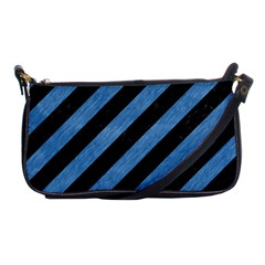 Stripes3 Black Marble & Blue Colored Pencil Shoulder Clutch Bag by trendistuff