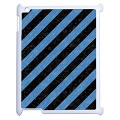 Stripes3 Black Marble & Blue Colored Pencil Apple Ipad 2 Case (white) by trendistuff