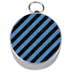 Stripes3 Black Marble & Blue Colored Pencil Silver Compass by trendistuff