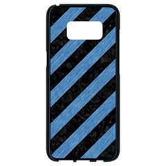 Stripes3 Black Marble & Blue Colored Pencil Samsung Galaxy S8 Black Seamless Case by trendistuff