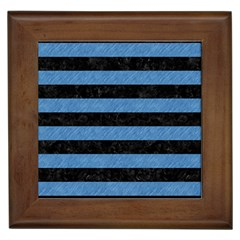 Stripes2 Black Marble & Blue Colored Pencil Framed Tile by trendistuff