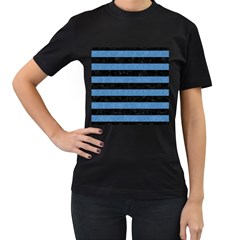 Stripes2 Black Marble & Blue Colored Pencil Women s T Shirt (black) (two Sided) by trendistuff