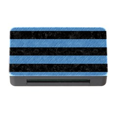 Stripes2 Black Marble & Blue Colored Pencil Memory Card Reader With Cf by trendistuff