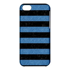 Stripes2 Black Marble & Blue Colored Pencil Apple Iphone 5c Hardshell Case by trendistuff