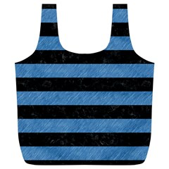 Stripes2 Black Marble & Blue Colored Pencil Full Print Recycle Bag (xl) by trendistuff