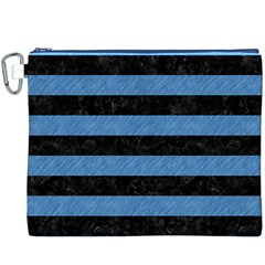 Stripes2 Black Marble & Blue Colored Pencil Canvas Cosmetic Bag (xxxl) by trendistuff