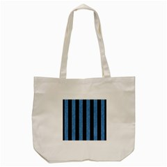 Stripes1 Black Marble & Blue Colored Pencil Tote Bag (cream) by trendistuff