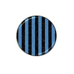 Stripes1 Black Marble & Blue Colored Pencil Hat Clip Ball Marker by trendistuff