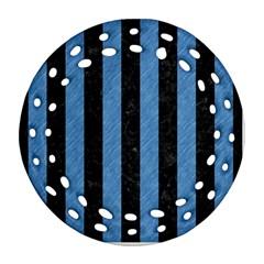 Stripes1 Black Marble & Blue Colored Pencil Ornament (round Filigree) by trendistuff