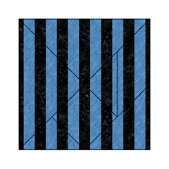 Stripes1 Black Marble & Blue Colored Pencil Acrylic Tangram Puzzle (6  X 6 ) by trendistuff