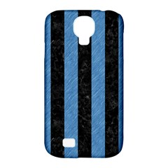 Stripes1 Black Marble & Blue Colored Pencil Samsung Galaxy S4 Classic Hardshell Case (pc+silicone) by trendistuff