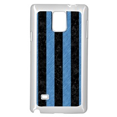 Stripes1 Black Marble & Blue Colored Pencil Samsung Galaxy Note 4 Case (white) by trendistuff