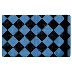 Square2 Black Marble & Blue Colored Pencil Apple Ipad 3/4 Flip Case by trendistuff