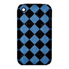 Square2 Black Marble & Blue Colored Pencil Apple Iphone 3g/3gs Hardshell Case (pc+silicone) by trendistuff
