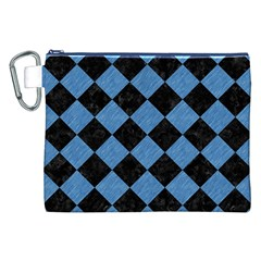 Square2 Black Marble & Blue Colored Pencil Canvas Cosmetic Bag (xxl) by trendistuff