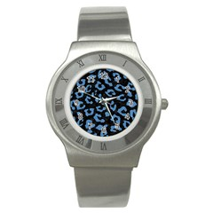 Skin5 Black Marble & Blue Colored Pencil (r) Stainless Steel Watch by trendistuff