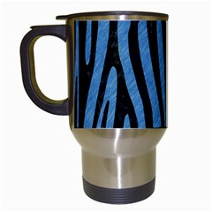 Skin4 Black Marble & Blue Colored Pencil Travel Mug (white) by trendistuff