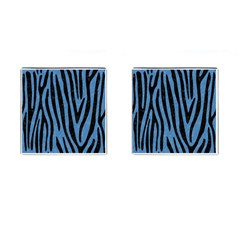 Skin4 Black Marble & Blue Colored Pencil Cufflinks (square) by trendistuff