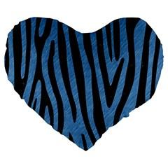 Skin4 Black Marble & Blue Colored Pencil Large 19  Premium Flano Heart Shape Cushion by trendistuff