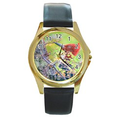 Woodpecker At Forest Pecking Tree, Patagonia, Argentina Round Gold Metal Watch by dflcprints